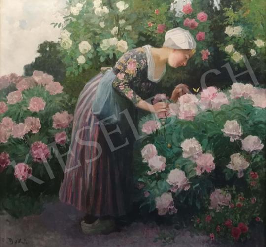 Eladó Duxa, Carl - Hölgy rózsákkal festménye