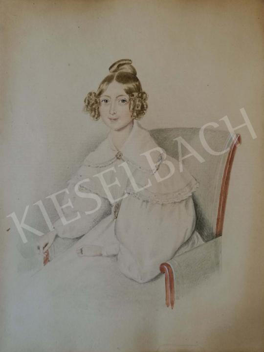Eladó Ismeretlen festő - Fiatal lány karosszékben festménye