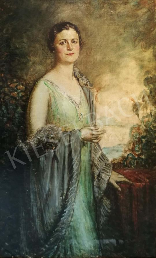 For sale Márk, Lajos - Lady in Elegant Green Dress 's painting
