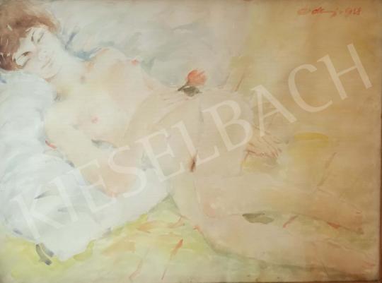 Eladó Erdei Sándor - Fekvő lány rózsaszállal festménye