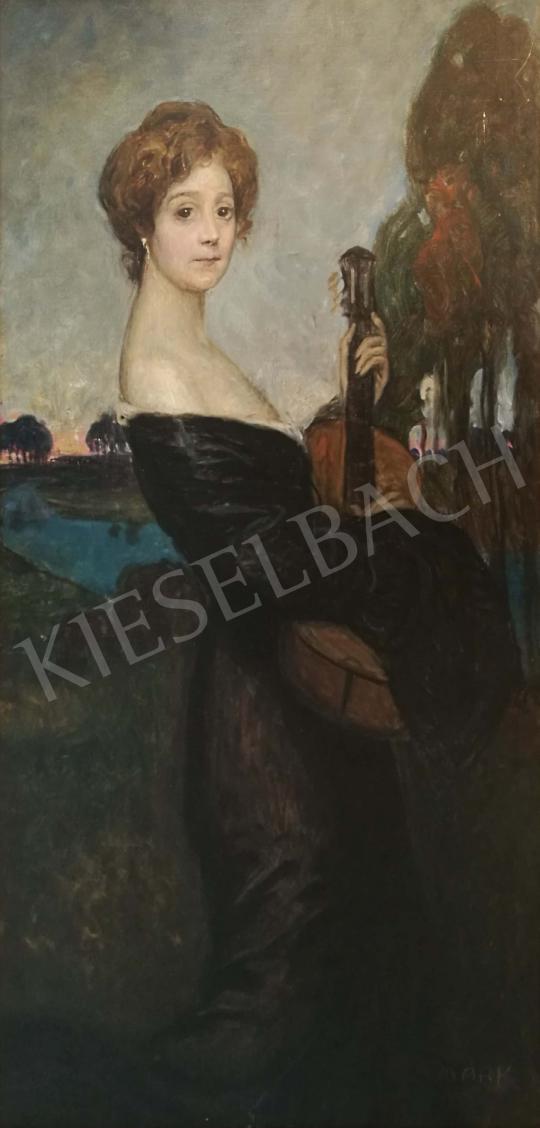 Eladó Márk Lajos - Fiatal lány gitárral festménye
