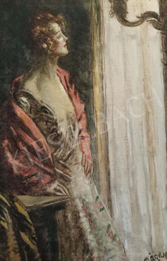 Márk Lajos - Hölgy a szalon ablakánál festménye