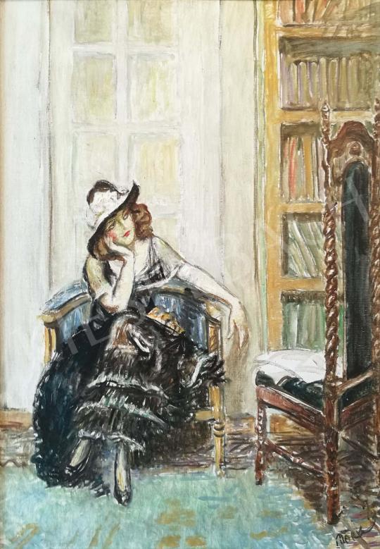 Márk Lajos - Kalapos lány festménye