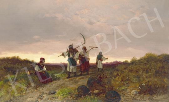 Eladó Böhm Pál - Esti fények festménye
