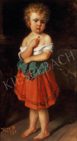 Kern Hermann - Cseresznyét szedő leány