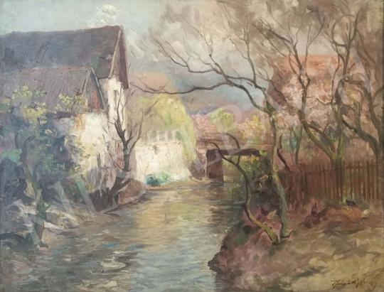 Kárpáthy Jenő - Tavasz a patakparton festménye