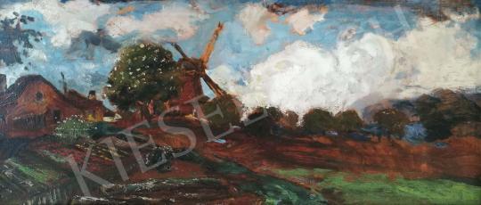 Eladó  Magyar Mannheimer Gusztáv - Holland táj szélmalommal festménye