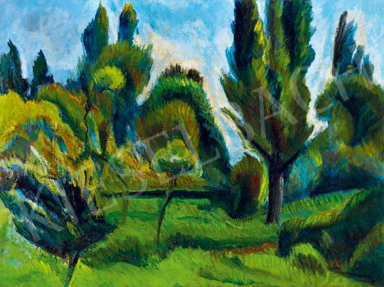 Perlrott Csaba Vilmos - Szentendrei kert nyáron festménye