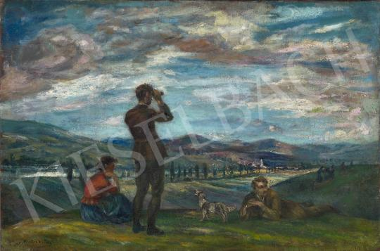 Kernstok Károly - Kirándulók háttérben a Nyergesújfalui tájjal festménye
