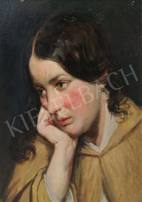For sale Unknown painter, about 1850 - Thinking young girl 's painting