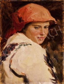 Glatz, Oszkár - Girl with Red Headscarf