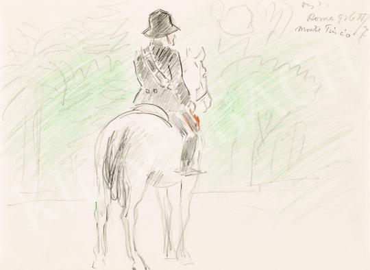 Eladó  Vaszary János - Római lovas a Monte Pincio domb parkjában, 1926 festménye