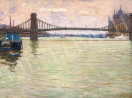 Kató, Kálmán (Kriszlanits Kálmán, Krisztanits - View of Budapest with the Chain Bridge, c. 1925