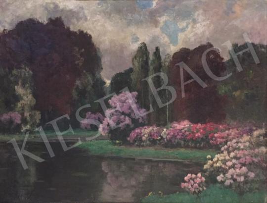 Eladó Kárpáthy Jenő - Virágos tópart festménye