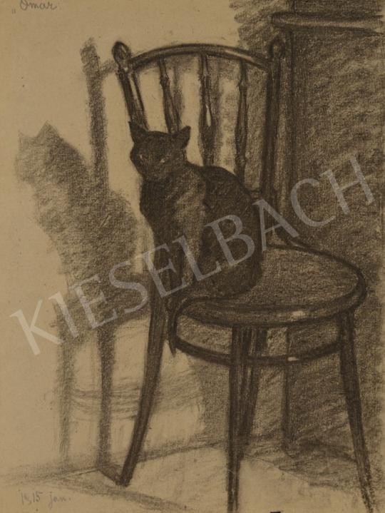 Eladó Huzella Pál - Fekete macska a széken (Omar) festménye
