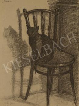Huzella, Pál - Black Cat on the Chair (Omar)