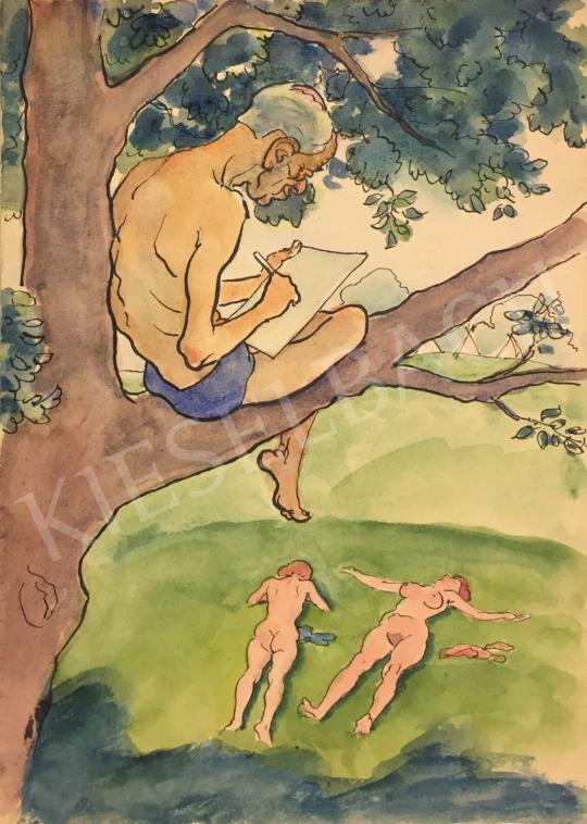 Eladó Huzella Pál - Az öreg leskelődő festménye