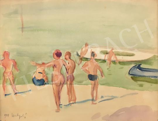 Eladó Huzella Pál - Strandolók a Dunaparton festménye