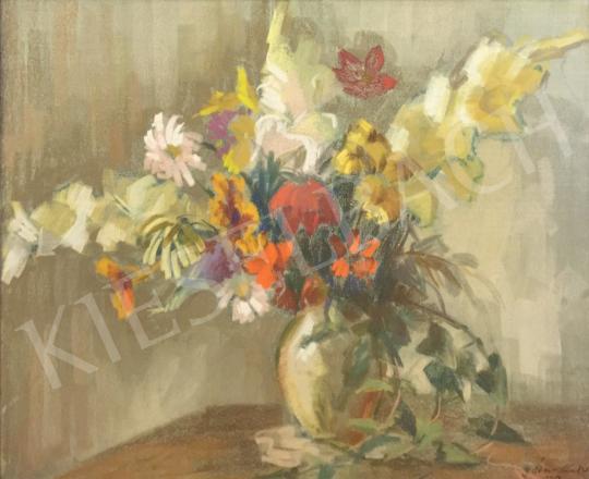 Eladó ifj. Éber Sándor - Tavaszi virágok vázában, 1959 festménye