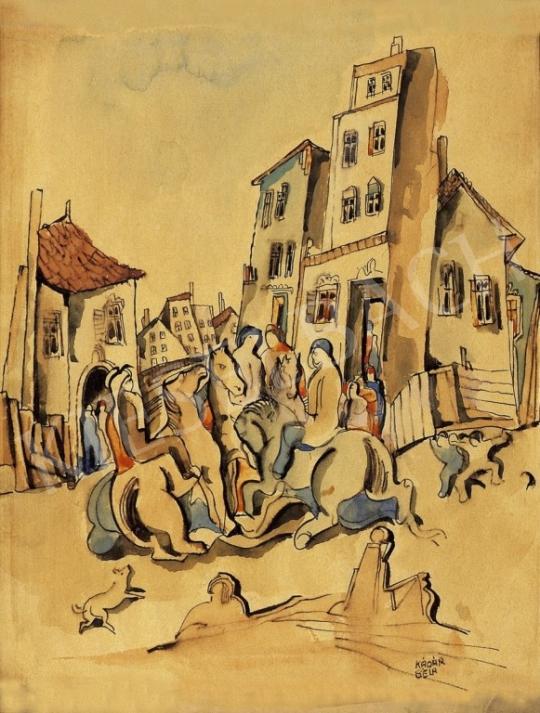 Kádár Béla - Lovasok a városban | 13. Aukció aukció / 40 tétel