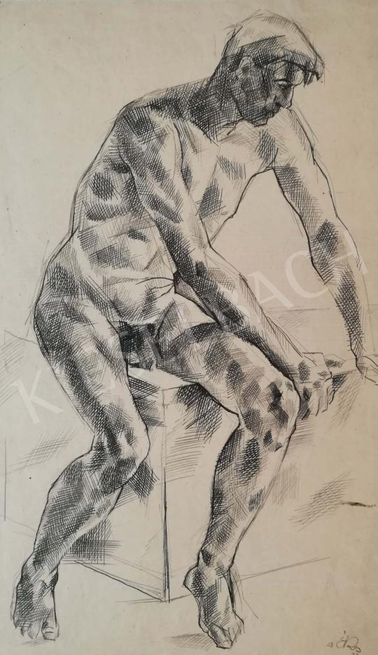 Eladó  Csabai-Ékes Lajos - Ülő férfiakt festménye