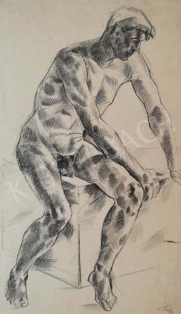Csabai-Ékes, Lajos - Sitting nude man