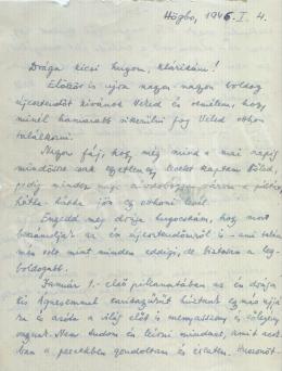 Gárdos Miklós - Letter from 1946