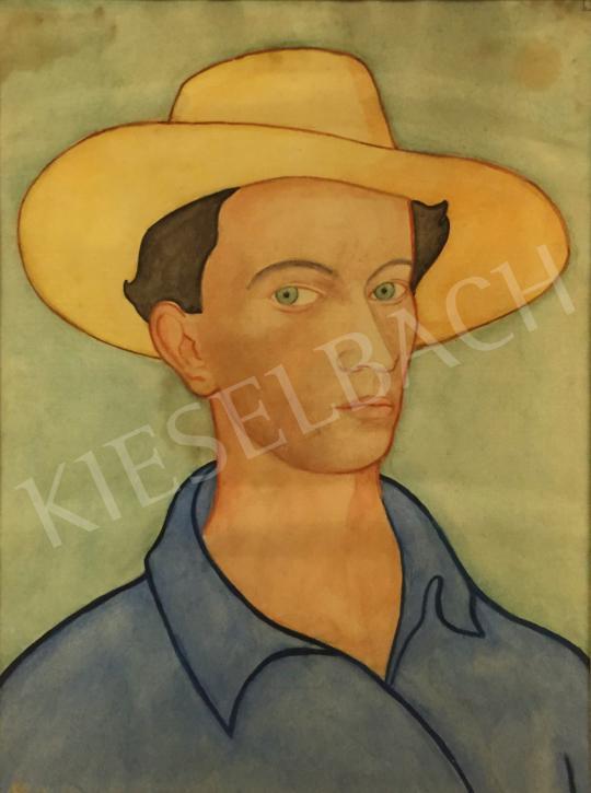 Eladó Ismeretlen festő 1930 körül - Szalmakalapos férfi portré festménye