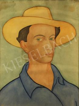 Unknown painter, about 1930 - Self-portrait with a straw hat