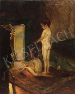 Ismeretlen festő - Kandalló előtt melegedő gyerekek
