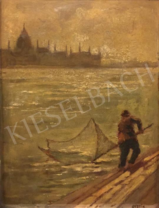 Eladó Guzsik Ödön - Dunai halász háttérben a Parlamenttel festménye