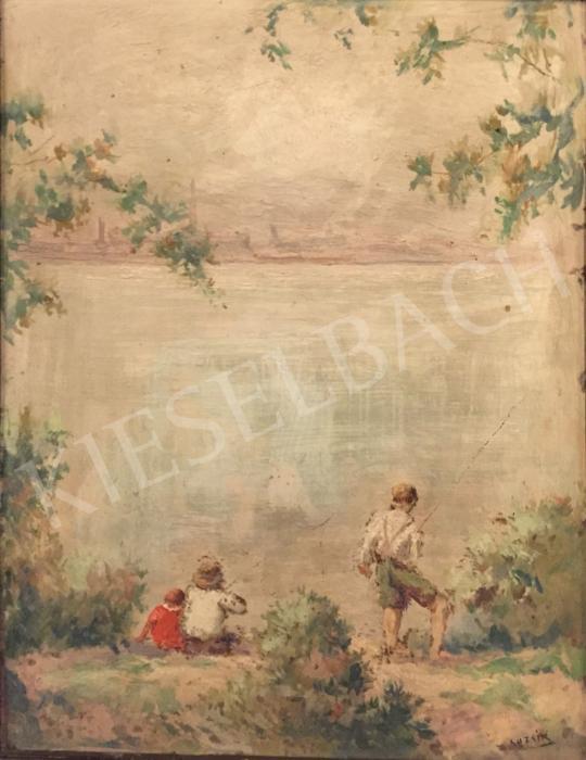 For sale Guzsik, Ödön - Fishing kids on the Danube bank 's painting
