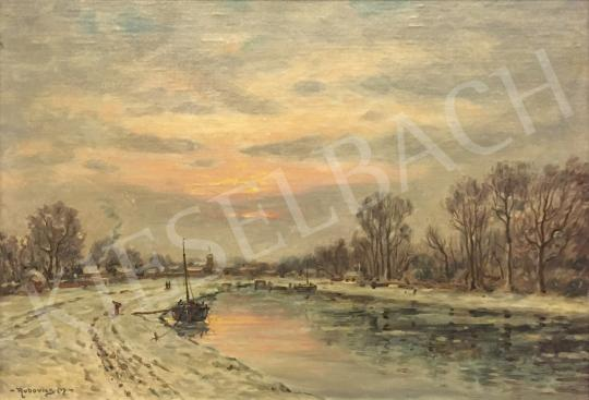 For sale Rubovics, Márk - Winter riverside landscape 's painting