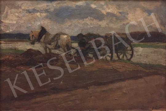Eladó Zombory Lajos - Lovaskocsi a vízparton festménye