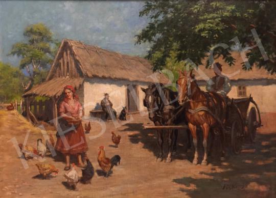Viski János - Vidéki udvar festménye