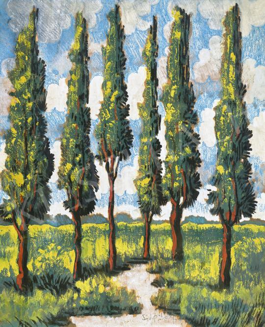 Scheiber Hugó - Fák bárányfelhős égbolttal, 1930-as évek | 62. Őszi Aukció aukció / 14 tétel