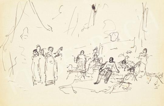 Munkácsy Mihály - Munkácsy Mihály első vázlata a Parlamentben láthatóHonfoglalás című képéhez, 1880-as évek | 62. Őszi Aukció aukció / 16 tétel