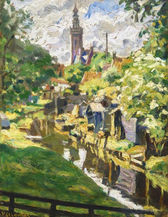 Perlmutter Izsák - Tükröződő patakpart házakkal (Hollandia), 1912 | 62. Őszi Aukció aukció / 26 tétel