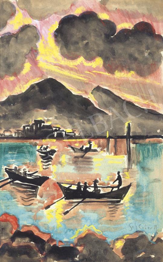 Scheiber Hugó - Esti fények tükröződése a vízen | 62. Őszi Aukció aukció / 29 tétel