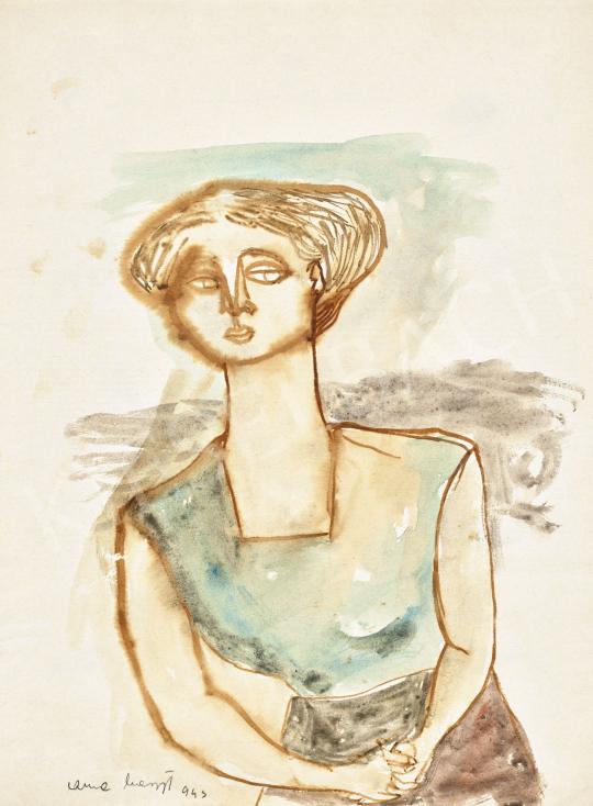 Anna Margit - Lány kék blúzban (Tovalépő), 1943 | 62. Őszi Aukció aukció / 36 tétel