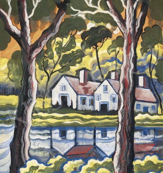 Scheiber Hugó - Házak a vízparton (Tükröződés), 1930-as évek | 62. Őszi Aukció aukció / 43 tétel