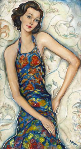 Batthyány Gyula - Fiatal lány virágos ruhában (Friderika Veith), 1930-as évek közepe
