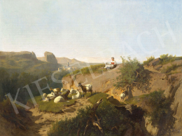 Markó, András - Italian Landscape by the Sea with Shepherd Girl, 1872