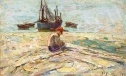 Perlmutter Izsák - Holland tengerpart vitorlással, 1898