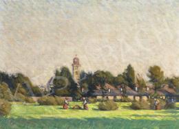 Mikola András - Nagybányai Klastromrét, háttérben a református templommal