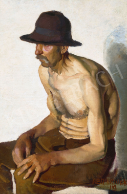 Aba-Novák, Vilmos - Man with Hat, 1919