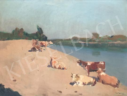 Eladó id. Benedek Jenő - Tehenek a folyóparton festménye