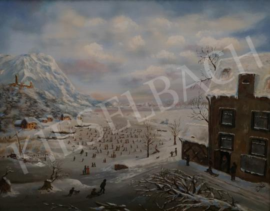 For sale  21st century painter - Winter Landscape (Ice Skaters) 's painting