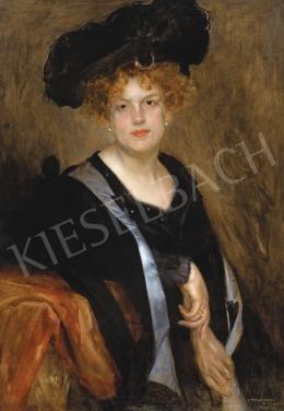 Karlovszky Bertalan - Vöröshajú hölgy kalapban