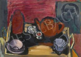 Gadányi, Jenő - Still Life with Self Portrait, c. 1940